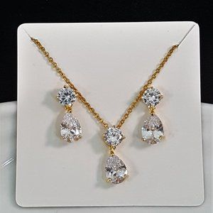 Gold Plated Cubic Zirconia Necklace Set